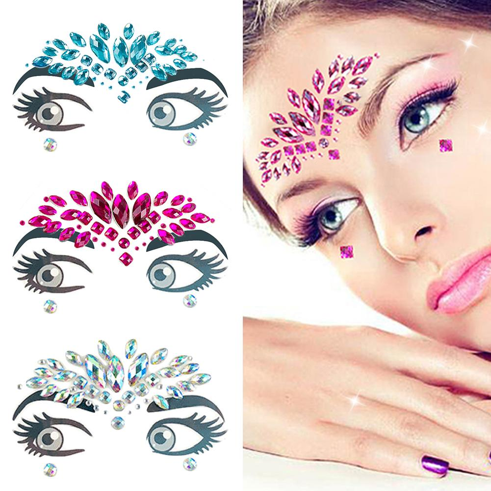 1 PC Adhesive Face Stickers Jewelry Gems Temporary Tattoo Face Jewelry  Festival Party Body Gems Rhinestone Flash Tattoos Make Up 9e36fb7f00c9