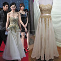 New Designs 2015 A Line Tulle/ Beaded Princess Sweetheart Neckline Gold Long Celebrity Dresses Vintage Evening Dresses