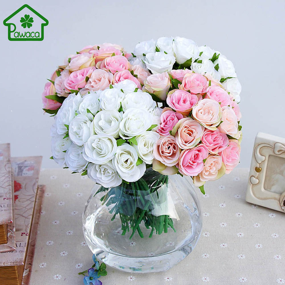 20pcs Artificial Rose Flowers Silk Flower Fake Real Touch Flowers