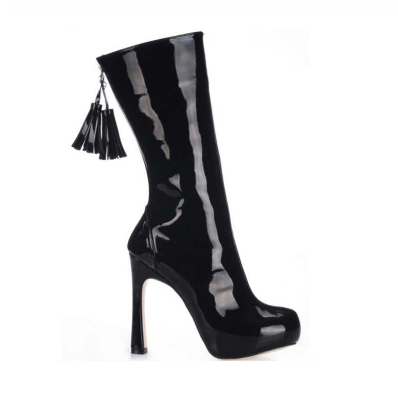 2018 New Fashion Sexy Black Patent Leather Stiletto High Heels Women's Platform Fringe Shoes Mid Calf Tassel Boots Zapatos Mujer hot selling chic stylish black grey suede leather patchwork boots mid calf spike heels middle fringe boots side tassel boots