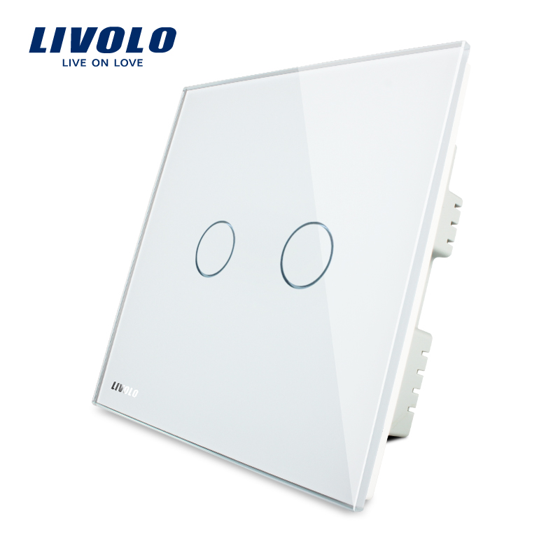 LIVOLO, Touch Switch, White Glass Panel, VL-C302-61,220~250V, 2-gang, only UK standard, Touch Light Switch with LED indicator livolo manufacturer touch switch vl c302 63 with led indicator golden glass panel 220 250v 2 gang uk standard