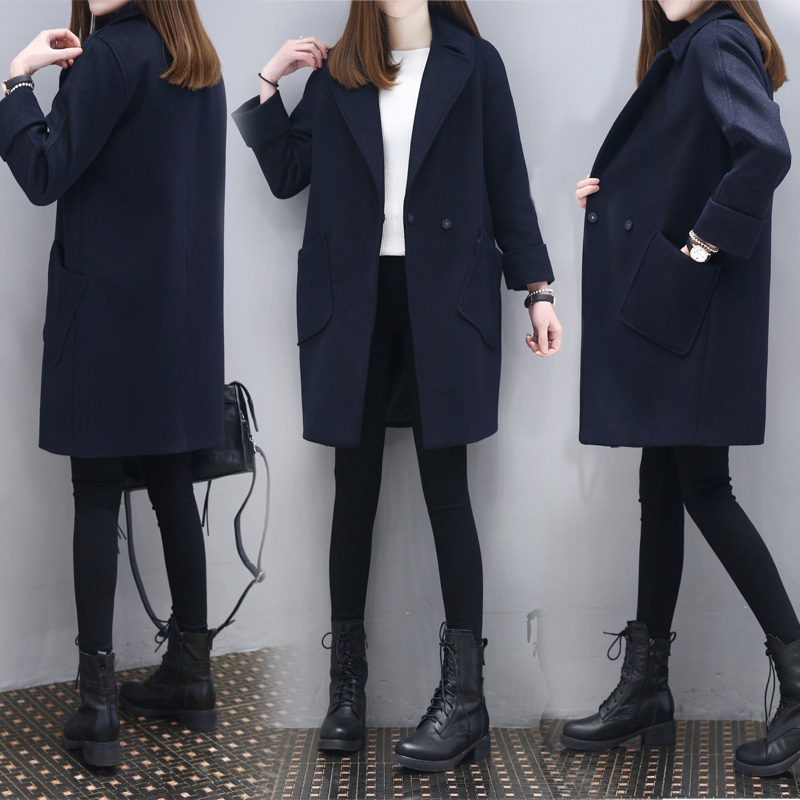 New spring fashion show thin cloth coat female in han edition long navy cloth coat coat