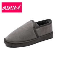 MINIKA Slip On Platform Boots Women Solid Colors Warmful Women Ankle Boots High Quality Durable Outsole
