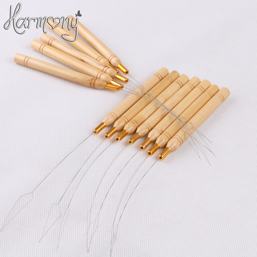 50 Pcs stainless steel Pulling nano Loop Threader Beads Loader For Bamboo Handle Nano Micro Ring