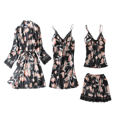 Daeyard Fashion 4 Pieces   Pajama     Sets   Women Silk Robe Pijama   Sets   Sexy Lace Floral Print Pyjamas Sleepwear Nighty With Chest Pads