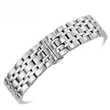 купить Newest 18/20/22mm Stainless Steel Watch Band Strap Silver Polished Mens Luxury Replacement Metal Watchband Bracelet Accessories по цене 653.38 рублей