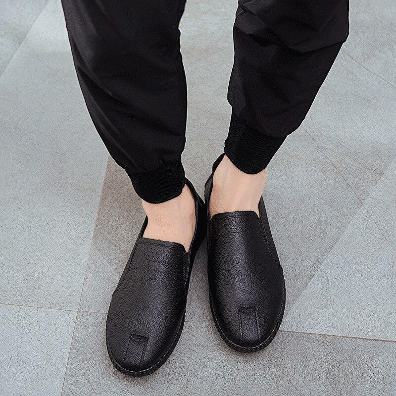 Lazer Pu Moda Preto Sapatas Da Couro Homens marrom Deslizamento De Sólida Autumm Mocassim Sapatos Primavera Macio Condução Em Plana Calçado nPxY8qIX