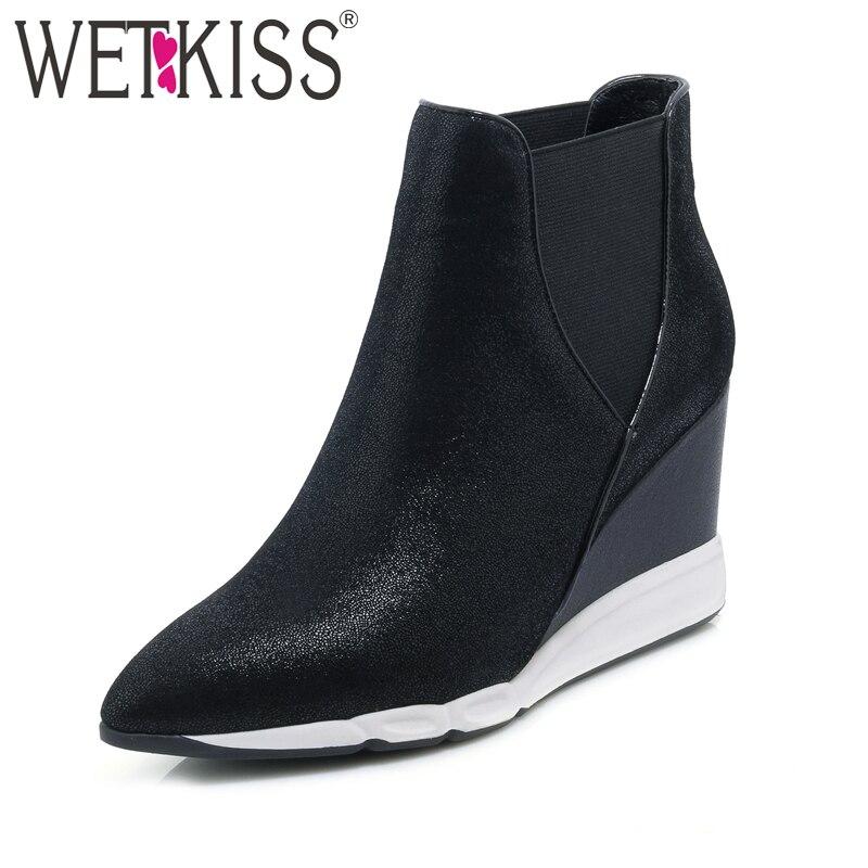 WETKISS/Ботильоны из натуральной кожи из овечьей кожи женская обувь на танкетке с острым носком эластичные слипоны женская обувь осень-зима