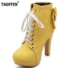 Taoffen mujeres botas de mujer zapatos de tobillo botas de tacón alto de encaje hasta Dulce Bowtie Bowknot Nueva Moda Otoño Invierno Tamaño de Los Zapatos 31-43