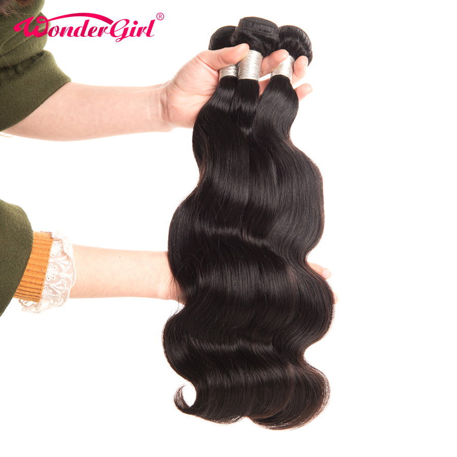 Brazilian Body Wave 3 Bundles Deal 100% Brazilian Human Hair Weave Bundles Wonder girl Remy Hair Extensions Can Be Dyed