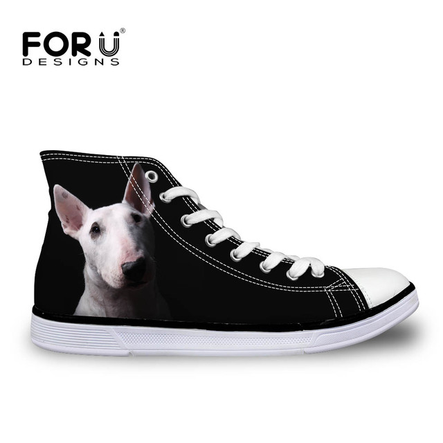 FORUDESIGNS Fashion Black Women Canvas Shoes Cute Pet Bull Terrier Printed Women's High Top Vulcanize Shoes for Female Zapatos