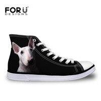 FORUDESIGNS Mode Noir Femmes Toile Chaussures Mignon Pet Bull Terrier Imprimé Femmes de Haute Top Vulcaniser Chaussures pour Femmes Zapatos