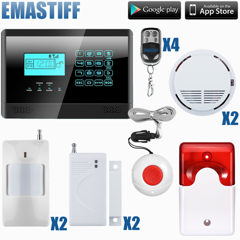 99 wireless & 4 wired zone home security GSM alarm system ISO & android APP support free shipping free shipping 99 wireless zone and 2 wired quad band lcd home security pstn gsm alarm system 3 pet immune pirs 5 new door sensor