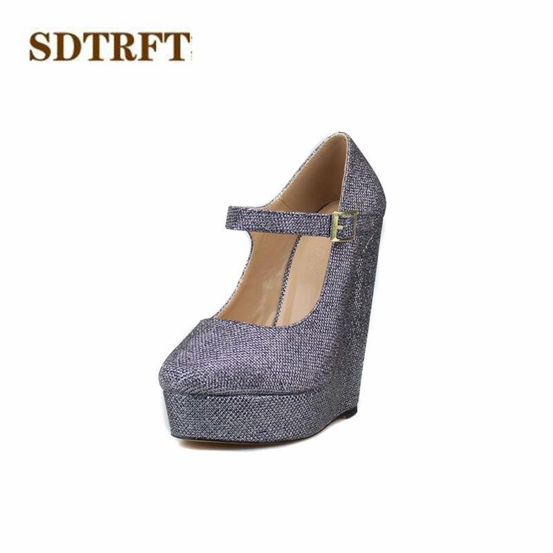 SDTRFT Plus size US14 15 16 17 Summer Elegant Round Toe 15cm wedges female high heeled Shoes woman paillette Buckle pumps Sapato