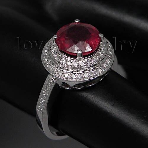 Фантазии сплошной 14Kt белого золота 3.33ct diamond натуральный рубин кольцо, обручально ...