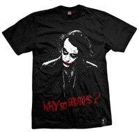 Mens Casual Batman Joker Jack Napier Why so serious Black Cotton O Neck Printing Pattern Short Sleeve T shirts Tops