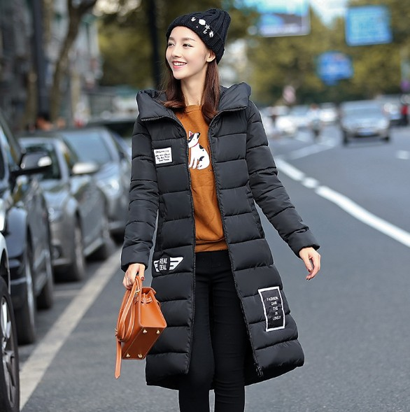 2017 Autumn Winter Women Basic Jacket Casual Coat Female Slim Hooded Brand Cotton Thickened Coats Medium Length Women Parka W08 muxu new autumn winter coat women basic jacket coat female slim hooded cotton coats casual silver long sleeve ladies jackets
