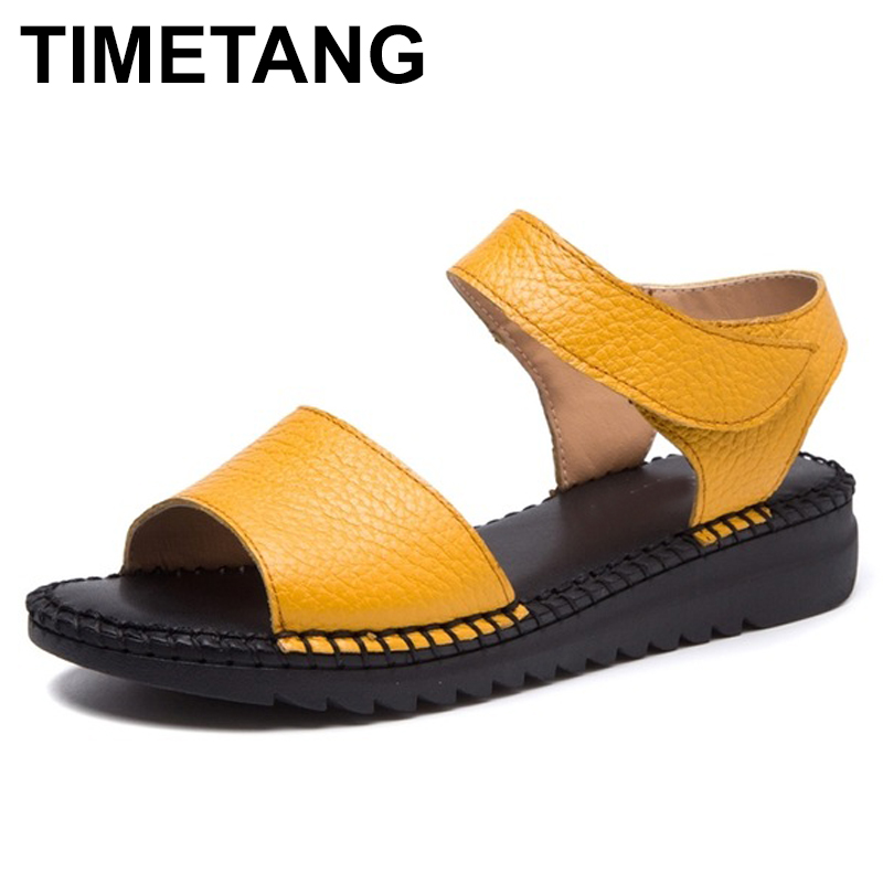 TIMETANG 2018 New Arrival Open Toe Women Sandals Summer Handmade Retro Soft Genuine Leather Women Flat Sandals Hook&Loop Shoes mivnskve 2017 new women genuine leather sandals female gladiator hook loop flat with shoes beach soft rome ethnic sewing fashion
