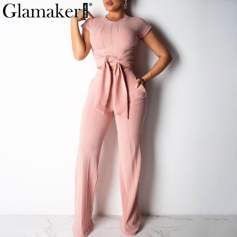 Glamaker Bodycon lace up black women   jumpsuit   pants autumn sexy pink fitness slim romper Female 2 piece suit party long playsuit