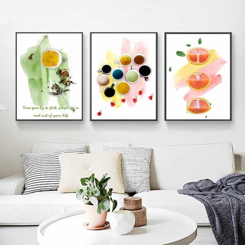 Nordic Style Still Life Fruit Tea Coffee Canvas Paintings Inspirational Quotes Art Poster Wall Art Print Pictures for Kitchen