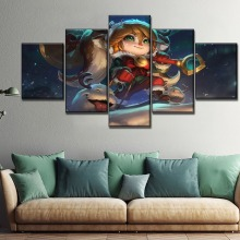 Game Poster Home Wall Decorative Artwork 5 Piece Modular Style Canvas Print League Of Legends Christmas Poppy Painting