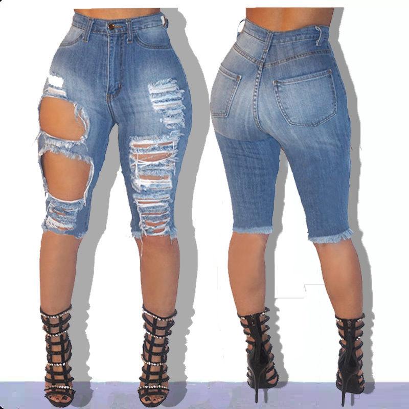 New Sexy Women Ladies Denim Skinny Ripped Shorts High Waist Hole Destroyed Draped Stretch Bodycon Jeans Slim Shorts