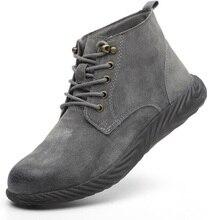 Мужская Рабочая обувь из натуральной кожи; Мужская Рабочая обувь со стальным носком; защитная обувь для работы и безопасности; дышащая Рабочая обувь; прокол