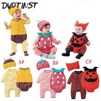 Dvotinst Baby Boys Girls Outfit Strawberry Bee Pumpkin Romper Vest Hat Costume Infant Jumpsuit Halloween Purim