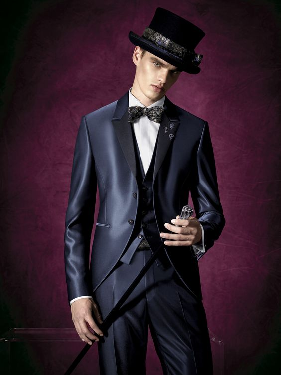 2017 Latest Coat Pant Designs Navy Blue Satin Men Suit Groom Blazer Slim Fit 3 Piece Tuxedo Custom Prom Suits Terno Masculino OK