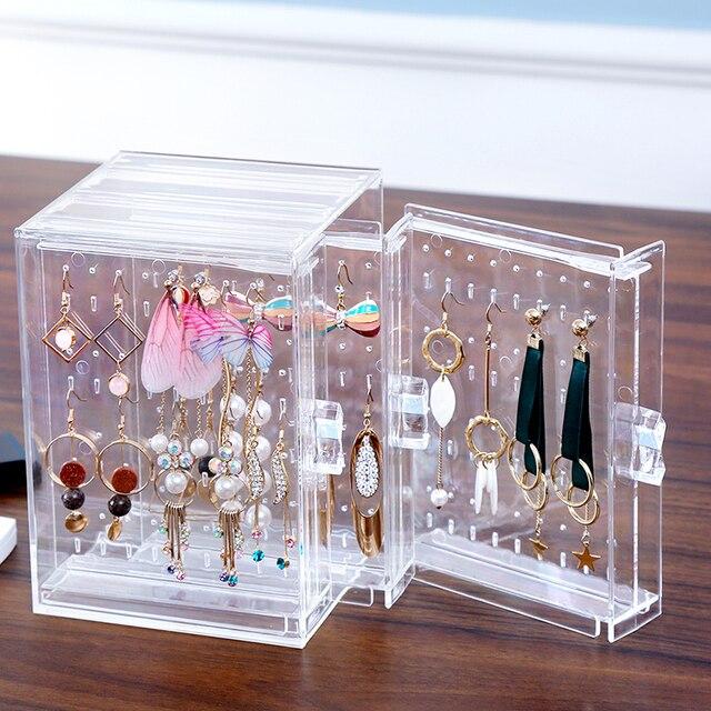 Clear Acrylic Makeup Jewelry Organizer Holder Earrings Stud Holder Necklace Organizer Case Cabinet Earrings organier C220-6