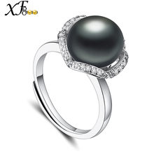 [XF800]Black Pearl Ring Real Freshwater Pearl Jewlery 10-11mm Big Adjustable Rings Fine Brands Wedding Party Gift Box [J206](China)