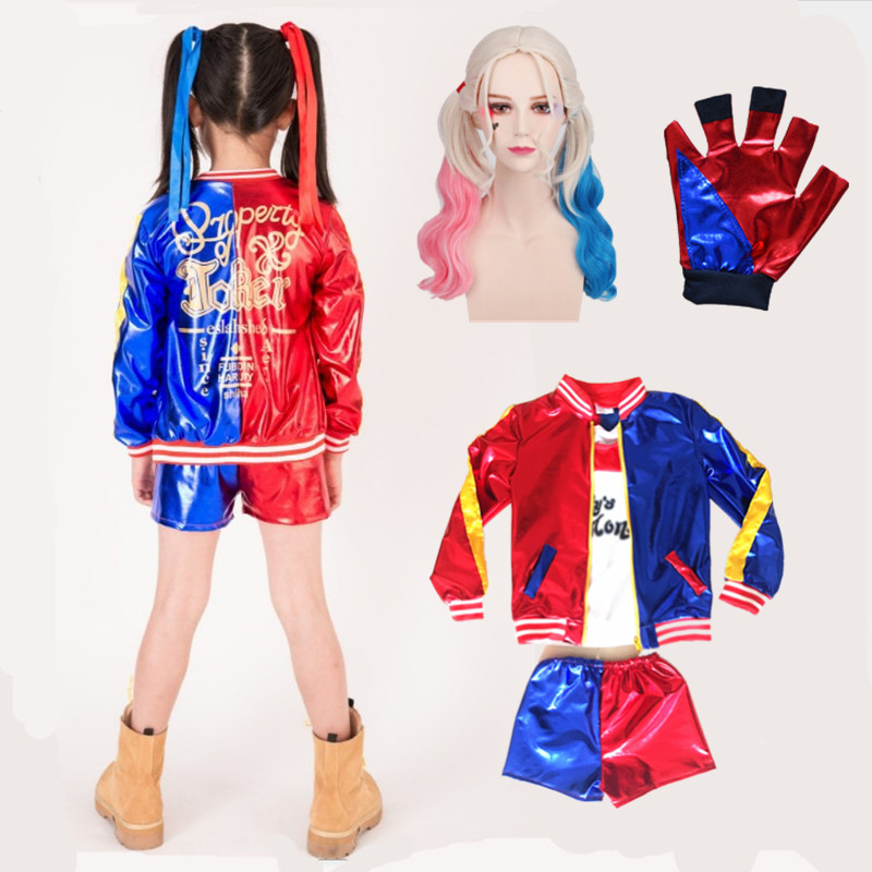 5 pcs Kids Harley Quinn Halloween Costumes Girls Clothing Suicide Squad Cosplay Children Suit Jacket+T shirt+Shorts+Wigs +Glove