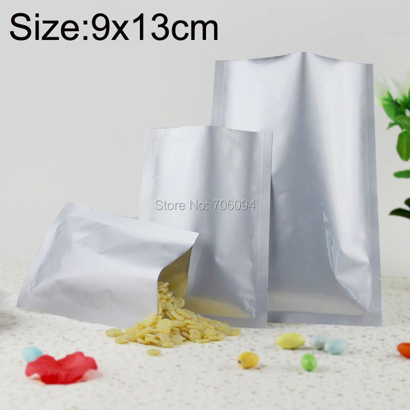 200PCS 9*13cm(3.54'' * 5.12'') 200micron Pure silver Aluminum Foil Bag Heat Seal Foil Bag Powder/Spice/Cooked Food storage pouch