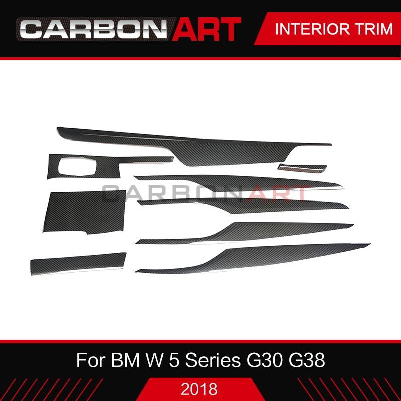 F90 リアルカーボンファイバーのインテリアトリム Bmw 5 シリーズ G30 G38 インテリアステッカー bmw の 5 シリーズ F90 g30 2018