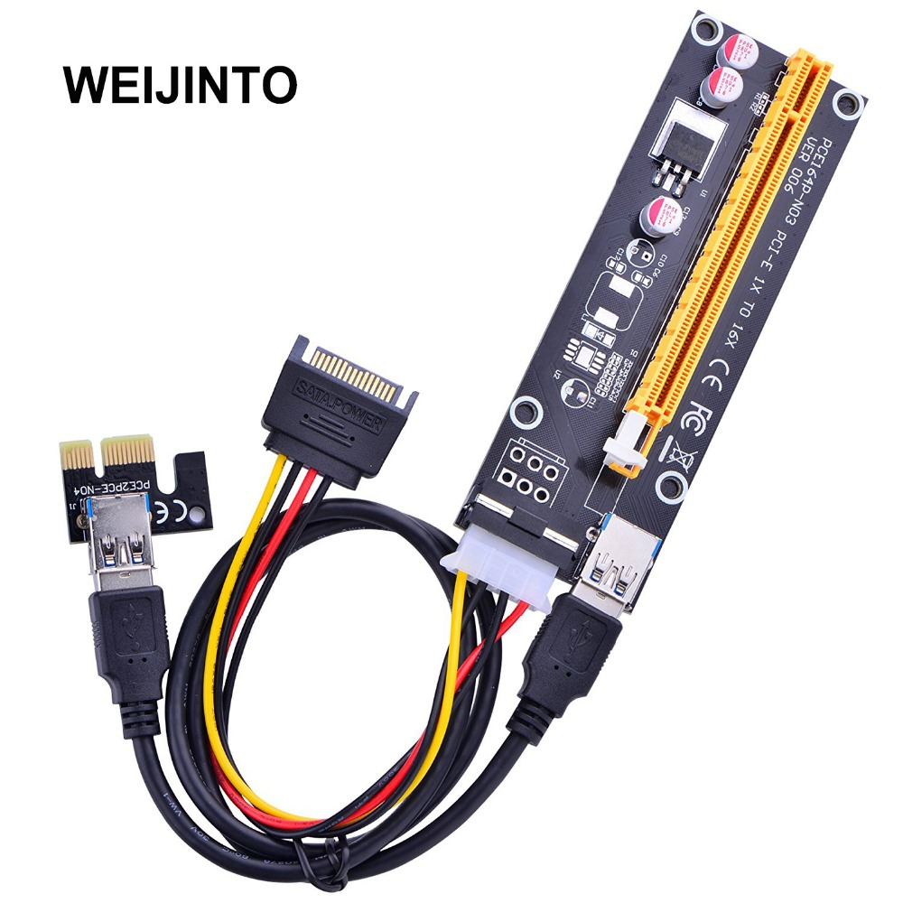 3pcs PCI-E PCI Express Riser Card 1x to 16x cables  for BTC Miner Machine USB 3.0 Data Cable SATA to 4Pin IDE Molex Power ver006 for btc miner machine pci e extender pci express riser card 1x to 16x usb 3 0 sata to 4pin ide molex power supply raiser 60cm