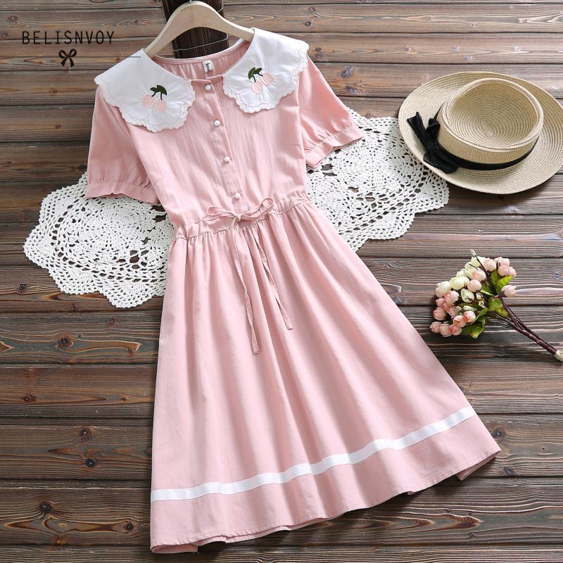 Japanese Mori Girl Sweet Summer Dress Blue Pink Women Short Seeve Floral Embroidery Cotton Linen Sundress For School Girls