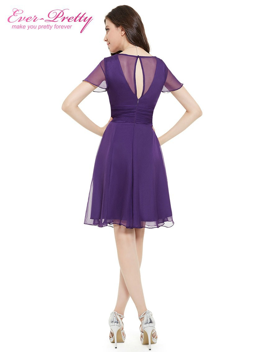 Short Sleeve V Neck Ruched Bust Chiffon Party Dress 13