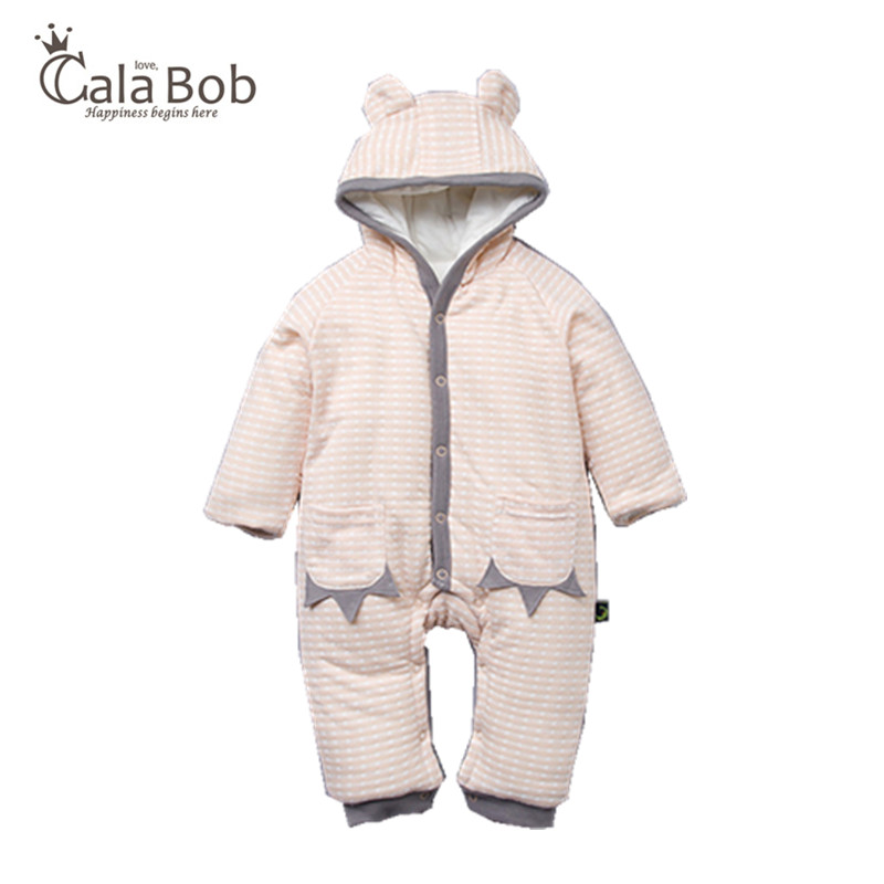 CalaBob NEW Winter Baby Rompers Clothes Long Sleeved Newborn Boy Girl Cotton Hooded Baby Jumpsuit Infant Baby Clothing for 0-12M baby clothing 2017 new newborn baby boy girl rompers toddler clothes long sleeve infant product autumn winter underwear pajamas