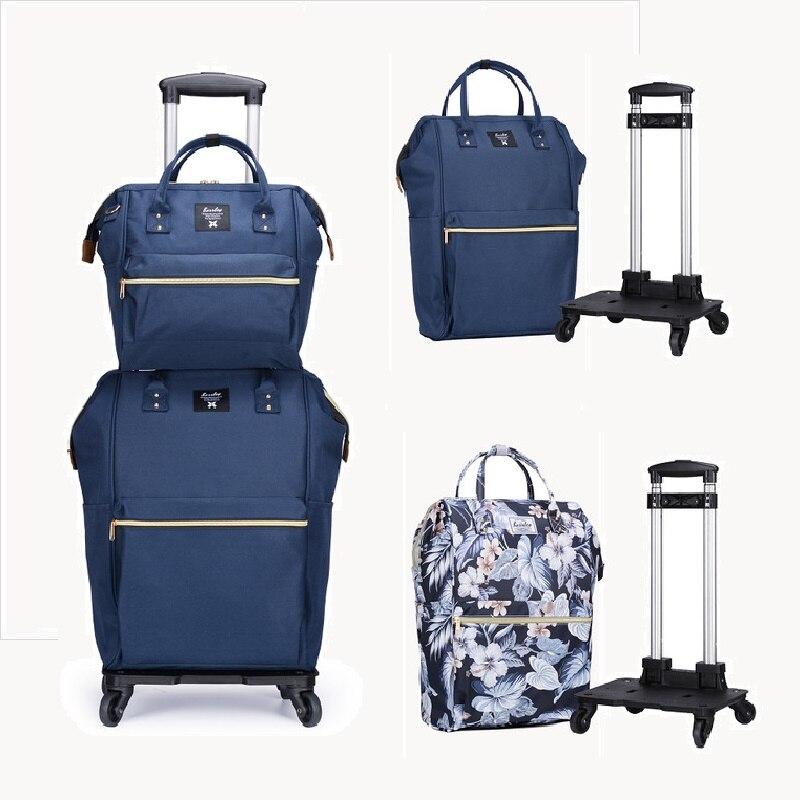 Nouveau mode chaud femmes Trolley sac de sport 20 pouces bagages Set sac à dos + sac multifonction toile sac de voyage