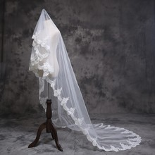 2018 3M White/3M 1 Layer Ivory Beautiful Cathedral Length Lace Edge Wedding Bridal Veil With Comb Accessories