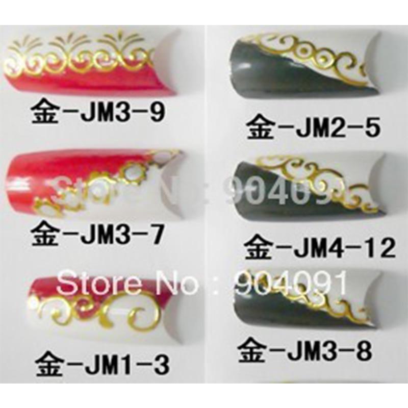 ツ)_/¯NEUE ANKUNFT 10 Blatt/LOT Großhandel Gold 3D Nail Sticker ...