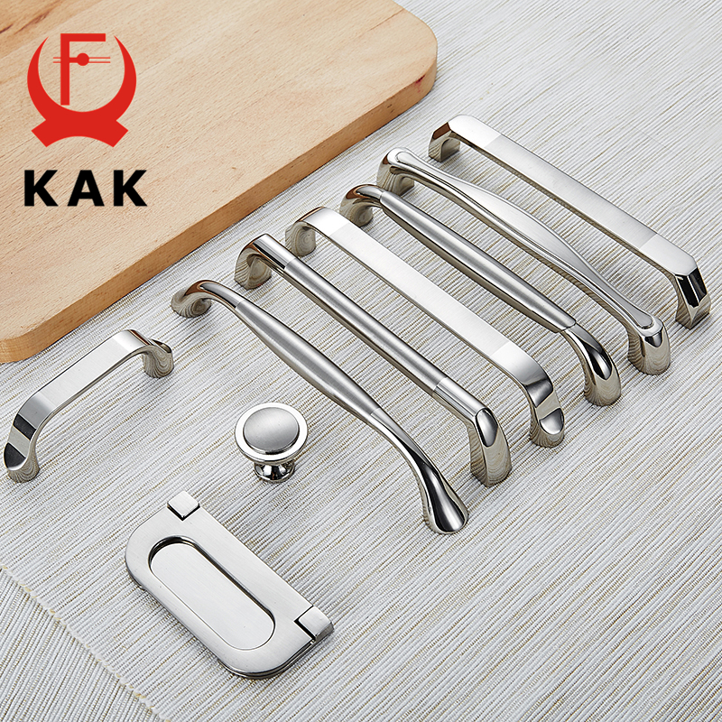 KAK Zinc Alloy Modern Cabinet Handles Kitchen Cupboard Door Pulls Drawer Knobs Handles Wardrobe Pulls Furniture Handle