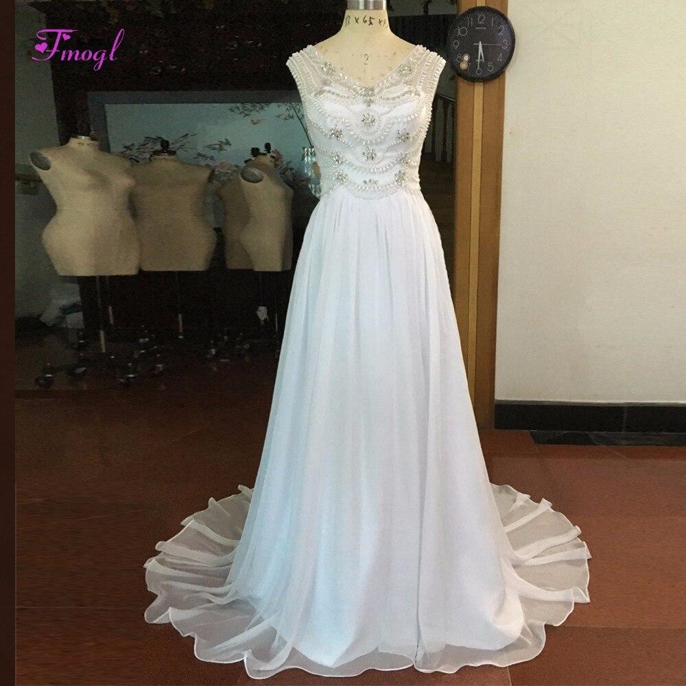 Fmogl Luxury Beaded Crystal Princess Beach Wedding Dress 2018 Sexy V-neck Pearls A-Line Wedding Gown Vestido de Noiva Plus Size
