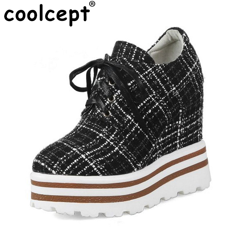 Coolcept Ladies Thick Platform High Heel Shoes Women Striped Cross Tied Pumps Women Wedges Fashion Spring Footwear Size 34-39 kemekiss size 33 42 women s high heel wedge shoes women cross strap platform pumps round toe casual mixed color ladies footwear
