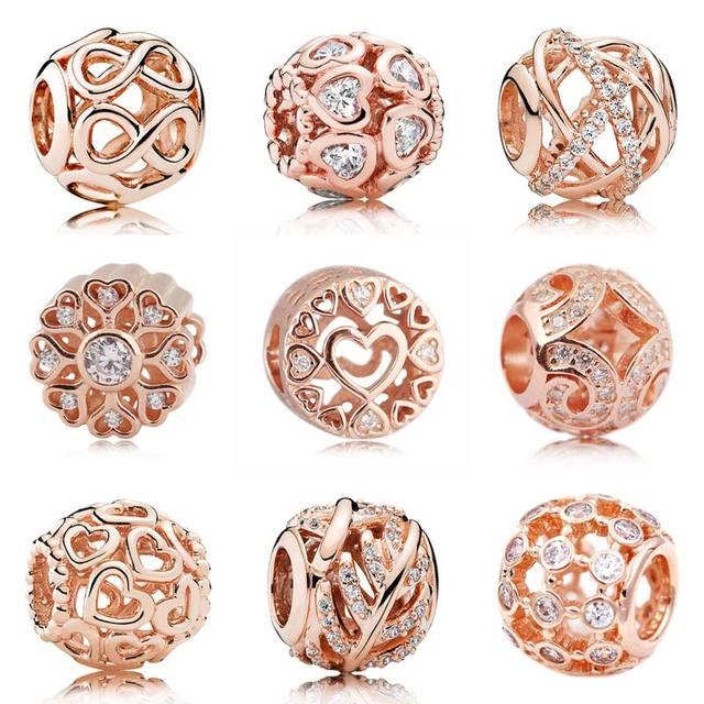 4727bba44cac Oro rosa calado Galaxy brillo infinito abre tu corazón Beads Fit Pandora pulsera  925 pulsera de plata esterlina de joyería de encanto