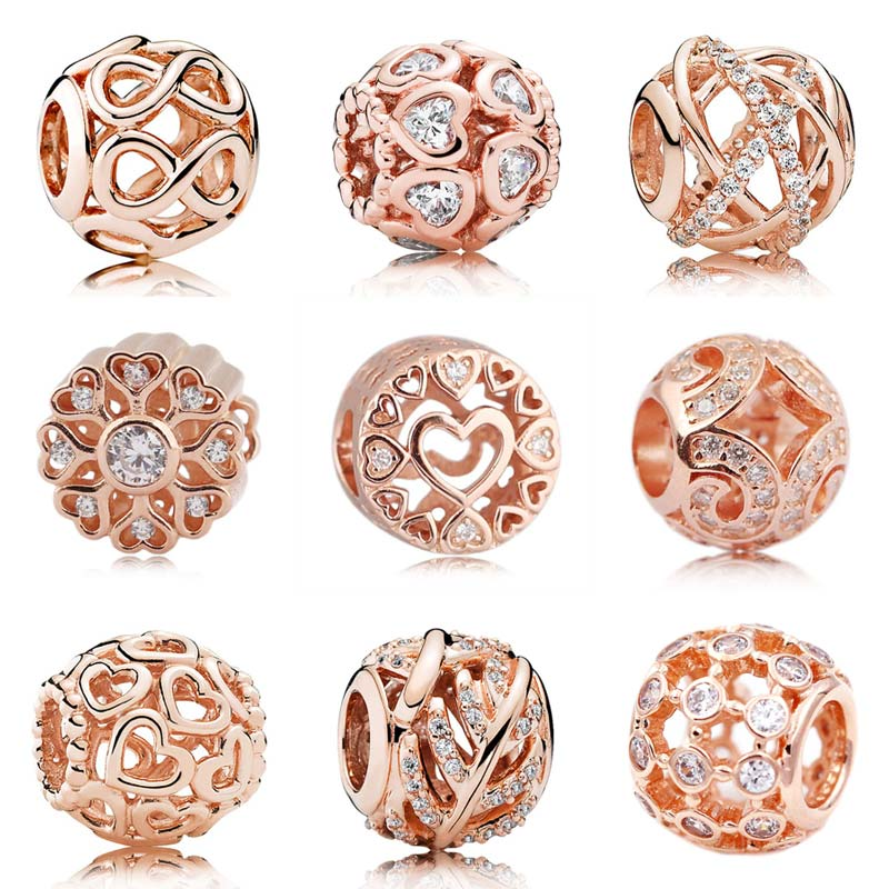 Rose Gold Openwork Galaxy Infinite Shine Open Your Heart Beads Fit Pandora Bracelet 925 Sterling Silver Charm Jewelry