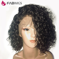 Fabwigs 180 Density Curly Lace Front Human Hair Wigs With Baby Hair Pre Plucked Short BoB