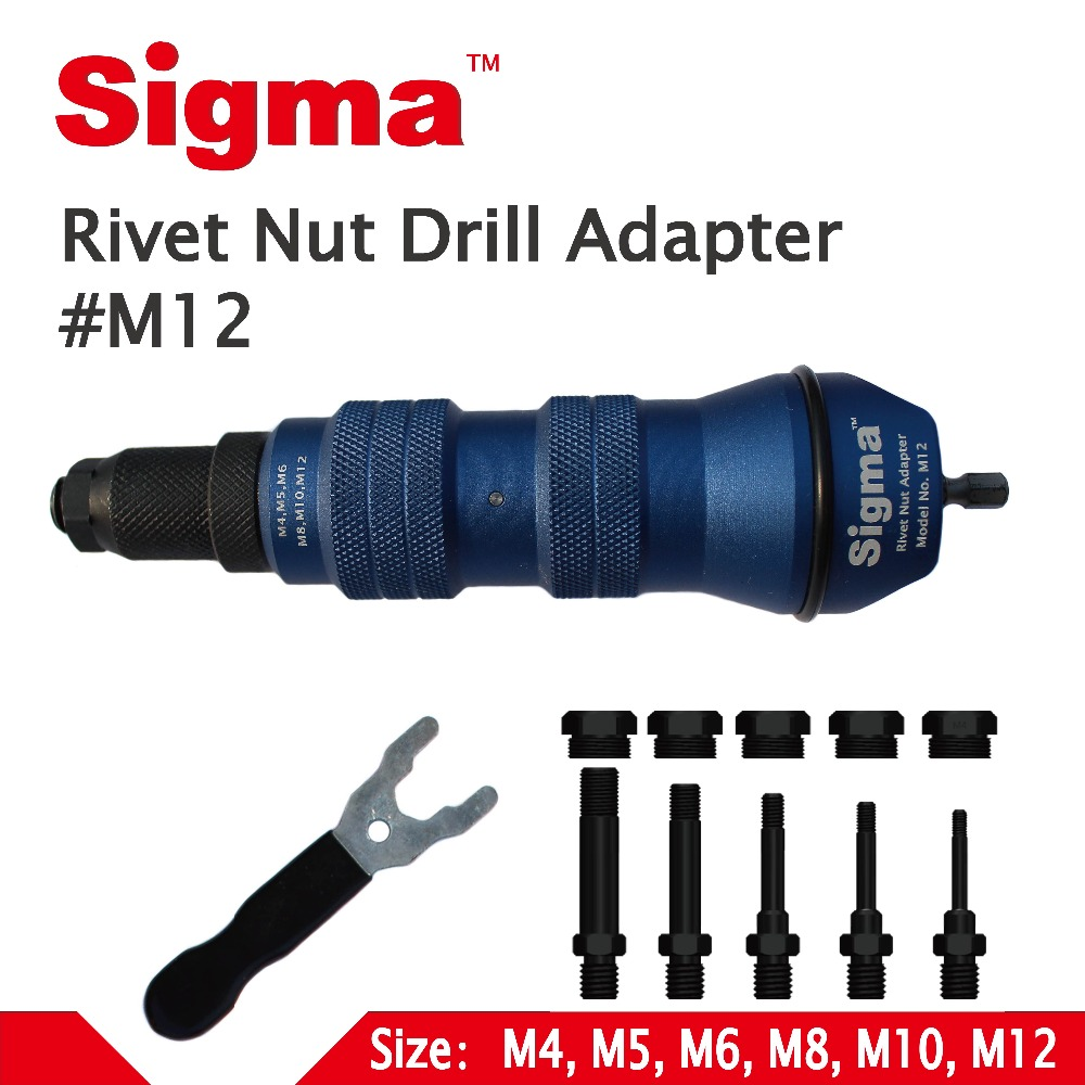 Sigma #M12 HEAVY DUTY Threaded Rivet Nut Drill Adapter Cordless Or Electric Power Tool Accessory Alternative Air Rivet Nut Gun