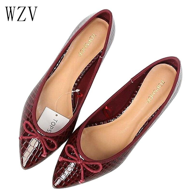 Novas Mulheres Do Vintage Apartamentos Sapatos Casuais Tenis de Couro Ballet Flats Sapatos Femininos Dedo Apontado Sapatos Baixos Mulher Verão