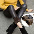 Uwback 2017 Winter Faux Leather Leggings Women for Weight 60kg Thick Velvet Trousers Slim Leather Outwear Legging Women CBB301